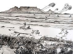 Chandler House, Table Mountain, City, Beach, Painting, The Beach, Painting Art, Cities, Beaches