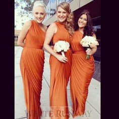 One shoulder grecian style Ingrid dress by designer Pia Gladys Perey. A flattering bridesmaid dress, formal dress and prom dress in a luxurious jersey fabric. Flattering Bridesmaid Dresses, Orange Bridesmaid Dresses, Wedding Bridesmaids, Prom Dresses, Formal Dresses, Wedding Dresses, Wedding Bouquets, Maid Of Honour Dresses, Maid Of Honor