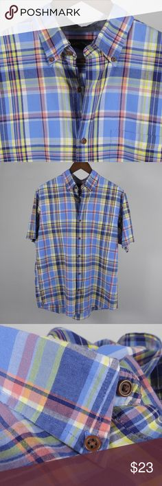 """M 15 - 15.5 Lands' End Plaid S/S Blue Shirt A4 Thank you for your interest in my item. You're going to love it — I guarantee it!   Top to Bottom: 30""""  Armpit to Armpit: 22.5"""" Shoulder to Sleeve Cuff: 10""""   Please remember to scroll through my other items and save on shipping when you purchase multiple items! Lands' End Shirts Casual Button Down Shirts"""