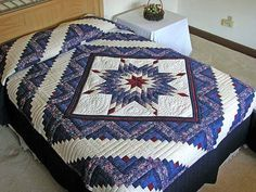 Lone Star Log Cabin Quilt -- marvelous meticulously made Amish Quilts from Lancaster (hs1287)
