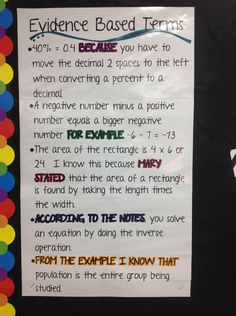 great anchor chart for Evidence Based Terms, to help students reason with their answers in math word problems Math Teacher, Math Classroom, Teaching Math, Classroom Ideas, Teacher Stuff, Teaching Ideas, Classroom Quotes, Classroom Projects, Classroom Posters