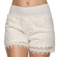 4 Sizes 2017 New Summer Woman Shorts Sweet Style Lace shorts Crochet Hollow Elastic Waist Slim Short Drop Shipping
