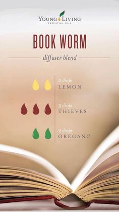 Book worm diffuser blend Young Living's Book worm diffuser blend Young Essential Oils, Essential Oil Uses, Oregano Oil, Essential Oil Diffuser Blends, Aromatherapy Diffuser, Perfume, Diffuser Recipes, Young Living Oregano, Young Living Oils