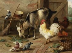A Goat, Chicken and Doves in a Stable by Edgar Hunt | Art Posters & Prints