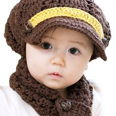 3 crochet baby boy hat collection with brim
