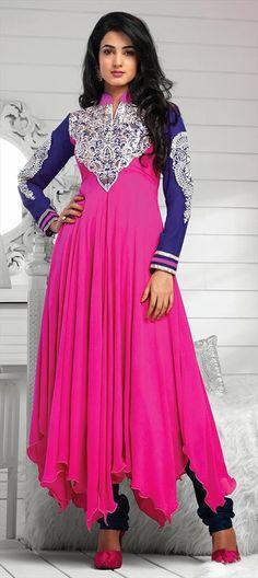 Pink and Blue indowestern design anarkali