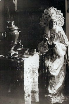 Ana Pavlova in a traditional Russian gown. She was a Russian ballerina of the late 19th and the early 20th centuries. She was a principal artist of the Imperial Russian Ballet and the Ballets Russes of Sergei Diaghilev.