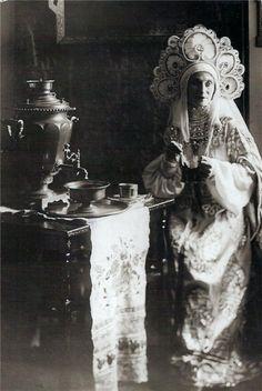 Russian Empire ballerina Anna Pavlova (1881-1931) in a traditional Russian gown.