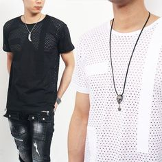Avant garde Perforated See Through Short Sleeve T Shirt
