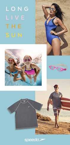 41d1bd819eba4 Block the Burn: Protect the entire family from the sun's harmful rays with  Speedo. With swim shirts and rash guards, long and short-sleeve styles, get  just ...
