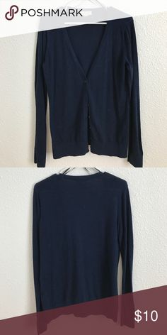Navy cardigan Very thin navy cardigan. No rips, tears, or holes. Has all buttons. Willing to negotiate Forever 21 Sweaters Cardigans