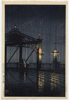 Night Rain on Shinohashi Bridge, c. 1926 by Kawase Hasui