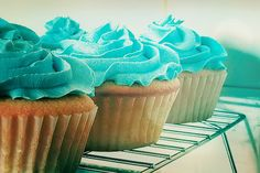 cupcakes with pretty aqua frosting! Turquoise Cupcakes, Teal Cupcakes, Yummy Cupcakes, Wedding Cupcakes, Cupcake Cakes, Butter Cupcakes, Cupcake Ideas, Blue Frosting, Cupcake Collection