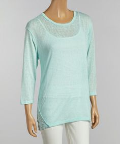 Love this Mint Burnout Crochet Scoop Neck Top - Women by Chris & Carol on #zulily! #zulilyfinds