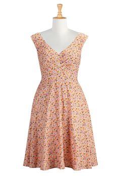 Ditsy Floral Print Dresses, Fit-And-Flare Dresses Women's short dresses - Evening dresses, cocktail, prom dresses | eShakti.com