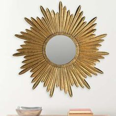 Safavieh Josephine Antique Gold Sunburst Mirror - x x Mirror Gallery Wall, White Wall Mirrors, Silver Wall Mirror, Rustic Wall Mirrors, Round Wall Mirror, Sun Mirror, Vintage Mirrors, Mirror Collage, Decorative Mirrors