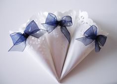 White Lace Paper Wedding Cones with Dark Blue Organza by IlasPaper, €27.50