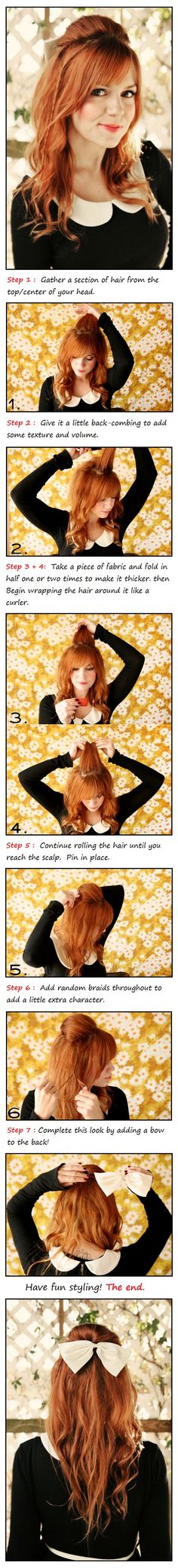 I'll have to try this! - Tried this today. I tried three times to get a nice smooth bump but every time it was lumpy and uneven. I didn't tease that much, and my hair is only an inch or two shorter than the model's. I am going to try it again before writing it off as photoshoot magic (when something works long enough to photograph but would fall apart if you actually did it in real life).