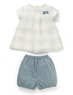 Blue Mix Girls Check Woven Top and Bloomer Shorts