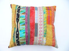 Strip pillow from recycled fabrics