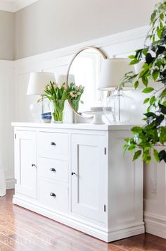 Building a modern farmhouse sideboard buffet is easy with these free plans.  Free Plans, 88d643033c9