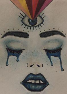 #arte #art #tumblr #eye #ojo #pecas #drw #drawing #dibujo #she #tercerojo #lips #blue #light #shine #cry #colours