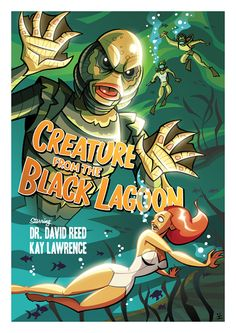 Cartoon Posters for Classic Cult Movies - Creature from the Black Lagoon - Cartoon Posters, Cartoon Movies, A Cartoon, Cartoon Styles, Cartoon Illustrations, Film Posters, Frankenstein, Incredible Cartoon, American History X