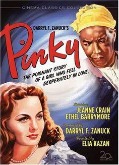 Jeanne Crain, Ethel Barrymore, Ethel Waters. Director: Elia Kazan, John Ford. IMDB: 7.2 ____________________________ https://en.wikipedia.org/wiki/Pinky_%28film%29 http://www.rottentomatoes.com/m/pinky/ http://www.tcm.com/tcmdb/title/86716/Pinky/ Article: http://www.tcm.com/tcmdb/title/86716/Pinky/articles.html http://www.allmovie.com/movie/pinky-v106125