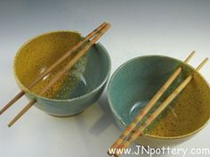 Ceramic / Stoneware Noodle Bowls Set of Two  Speckle by JNpottery, $40.00