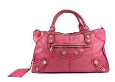 Balenciaga Pink Lambskin Giant City Shoulder Bag