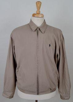 men's Polo Ralph Lauren Golf beige zip up water resistant polyester Med. jacket #PoloGolf #BasicJacket
