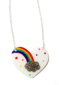 Rainbow Heart Necklace - Colourful Rainbow Stars and Grey Glitter Cloud - Valentines - Love, Pride, Freedom, Cute, Kitsch. £15.00, via Etsy.