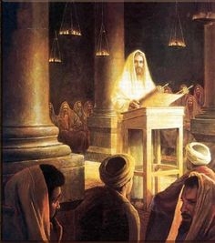 Jesus reading Torah in the Synagogue.