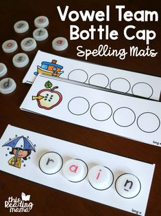 bottle caps Want an easy, low prep word work idea for vowel teams? Youll love our NEW vowel team bottle cap spelling mats! If you have learners working on CVCe patterns, be sure to check o Spelling Worksheets, Spelling Games, Spelling Activities, Kindergarten Activities, Word Games, Word Study, Word Work, Bottle Cap Spelling, Vowel Digraphs
