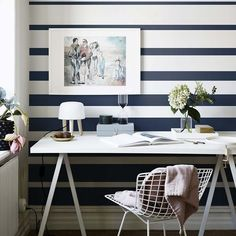 Inspiring & evocative design inspiration for room makeovers, this post takes the reader through 10 striped wallpaper design ideas for any room in the house. Striped Wallpaper Design, Wallpaper Designs, Decor Room, Bedroom Decor, Home Decor, Bedroom Ideas, Painting Stripes On Walls, Wall Stripes, Painted Stripes