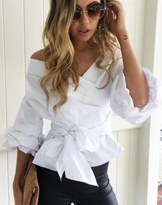 #fall #work #outfits | White Drape Top + Black Leather Pants