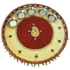 Diwali decoration on pinterest diwali diwali rangoli for Aarti thali decoration with kundan