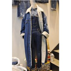58.50$  Watch here - http://ali6b8.worldwells.pw/go.php?t=32774434253 - Autumn Winter Slim Long Cowboy Coat Female Clothes Sweet Long Sleeve Turn-down Collar  Jean Denim Blouse thickness Coat overcoat 58.50$