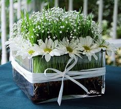 Daisy and baby's breath centerpiece with cut wheat grass