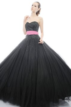 Black Sweetheart Beadings Sash Satin Tulle Sweep Train Ball Gown Style Prom Dress for Adult Ceremony