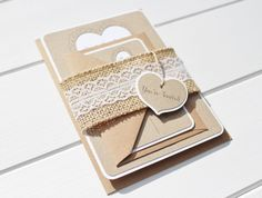 Burlap and Lace Wedding Invitation, Rustic Wedding Invitation with a Lace and Burlap Belly band and a You're invited Rustic heart tag.