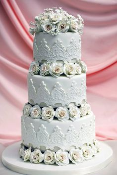 Stunning! ~ White Rose Wedding Cake  ~ all edible