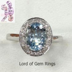 $375 Oval Aquamarine Engagement Ring Pave Diamond Halo 14K White Gold 6x8mm