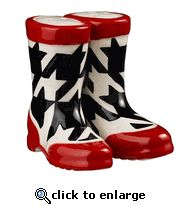 Christmas Boots Salt and Pepper Set, White with Red Accents, Grasslands Road