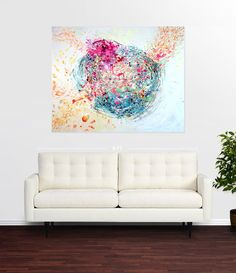 """Original painting: Acrylic, charcoal pencil, and india Ink on Canvas. 5'x4'. This painting titled """"Swirling Water"""" is a continuation of a current series of paintings inspired by my trip to the Georgia"""