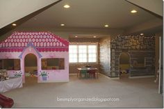 Playroom with playhouses built in - real walls painted to look like little girls playhouse and boys fort Indoor Playhouse, Build A Playhouse, Playhouse Ideas, Indoor Forts, Playroom Organization, Organized Playroom, Playroom Ideas, Attic Playroom, Organization Ideas