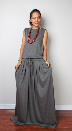 Grey Maxi Dress - Top Grey  Sleeveless dress : Autumn Thrills Collection No.9   (New Arrival) by Nuichan on Etsy https://www.etsy.com/listing/226037318/grey-maxi-dress-top-grey-sleeveless