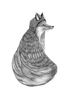 The Gathering The Fox // 5x7 Art Print  Forest by Polanshek, $10.00
