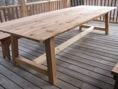 Large Outdoor Dining Table CedarI really like long tablesgreat for entertaining large groups especially good friends and family.:) - Patio Table - Ideas of Patio Table Wooden Outdoor Table, Wooden Garden Table, Cedar Table, Outdoor Tables, Patio Tables, Rustic Outdoor, Porch Table, Cedar Deck, Wood Patio