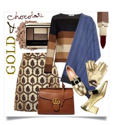 """Gold and Chocolate"" by capricat ❤ liked on Polyvore featuring Gucci, MaxMara, Bajra, VIVETTA and Fashion Fair"
